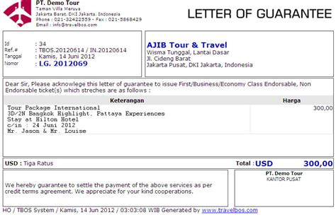 Guarantee Letter Untuk Hotel Travelbos Front Office Aplikasi Travel Program Travel