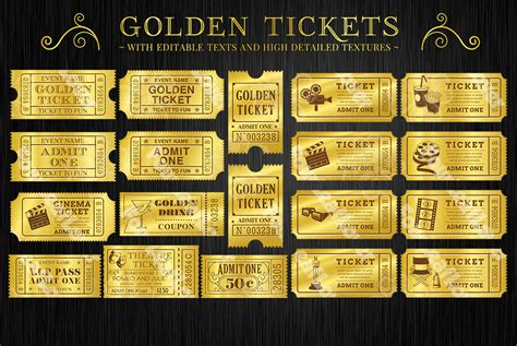 golden tickets templates set illustrations on creative
