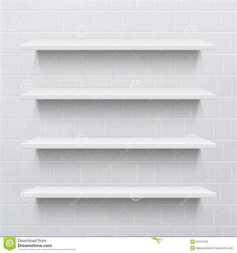 scaffali bianchi quattro scaffali realistici bianchi contro il muro di