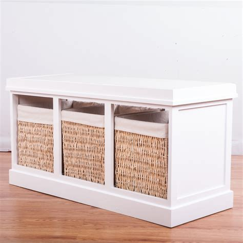 storage bench with cushion and baskets storage unit hallway white wooden bench with 3 baskets