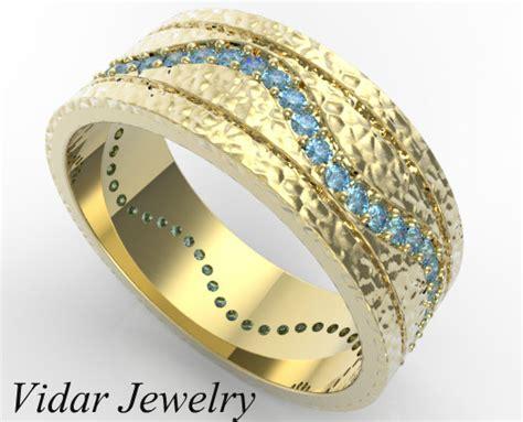 Men's Hammered Gold Blue Diamond Wedding Band   Vidar