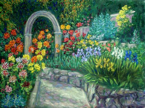 Flower Garden Painting Quot Dahlia And Iris Garden Quot Flower Garden Paintings And Prints By Paulb