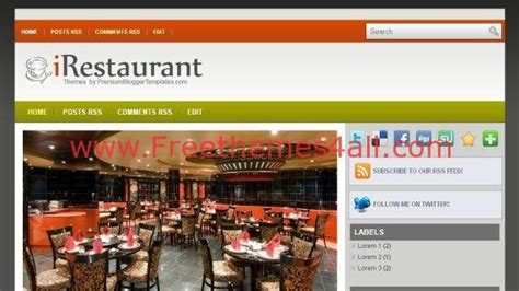 blogger themes cafe free gray orange black blogger restaurant template