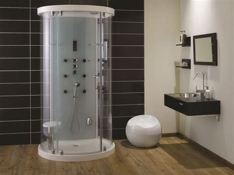 square freestanding bath  shower enclosure interior