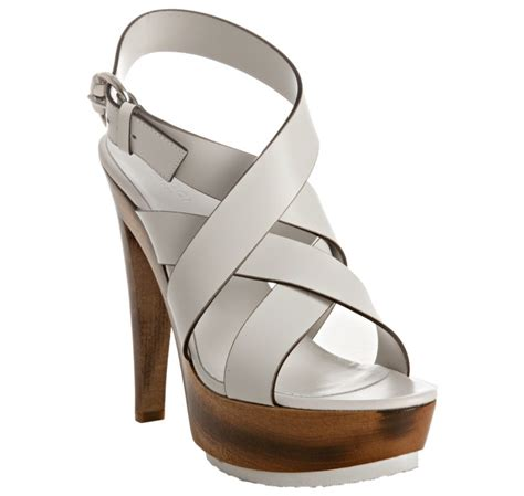 white gucci sandals gucci white pebble leather bamboo clog platform sandals in