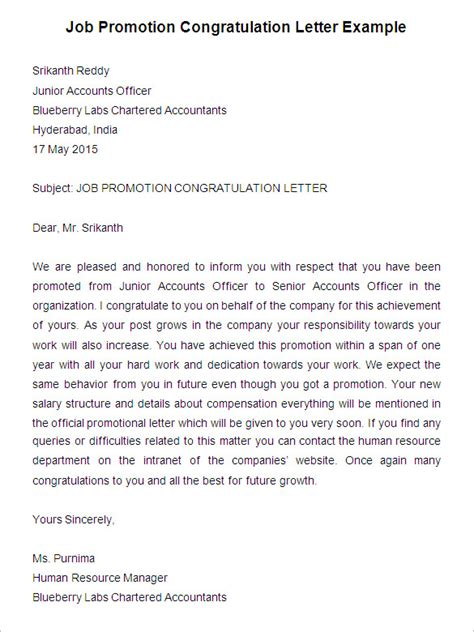 Congratulations Letter Promotion New Position awesome sle cover letter promotion 24 for best cover