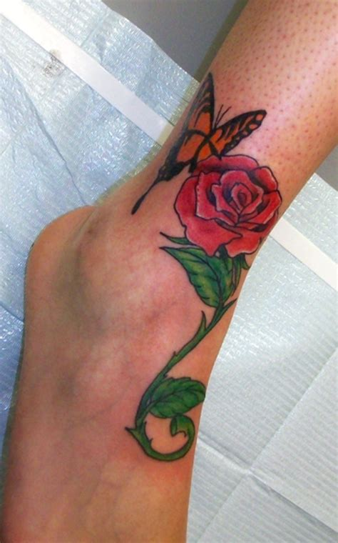 rose tattoos on leg leg butterfly img2299 171 on leg 171 tatto on
