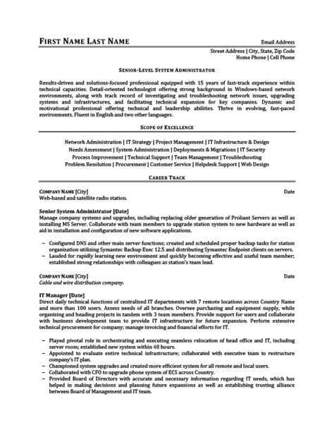 Senior Level System Administrator Resume Template Premium Resume Sles Exle Senior Level Resume Template