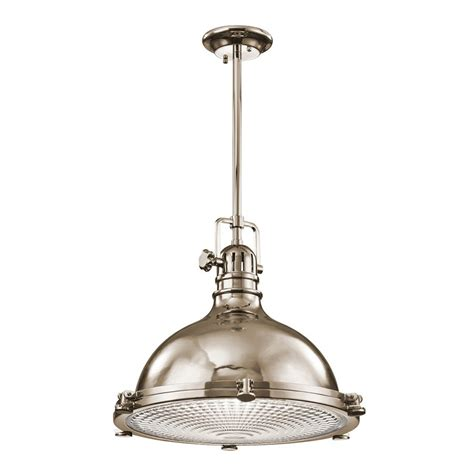 Warehouse Pendant Light Fixtures Shop Kichler Hatteras Bay 18 In Polished Nickel Industrial Single Ribbed Glass Warehouse Pendant