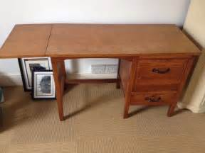 wooden desk vintage style look possibly oak with