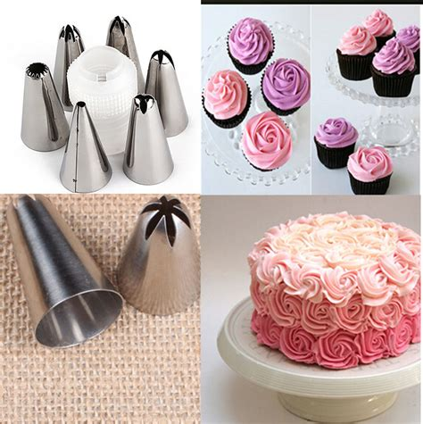 diy piping tip 6pcs set diy stainless steel icing piping nozzles pastry tips fondant cup cake baking in dessert