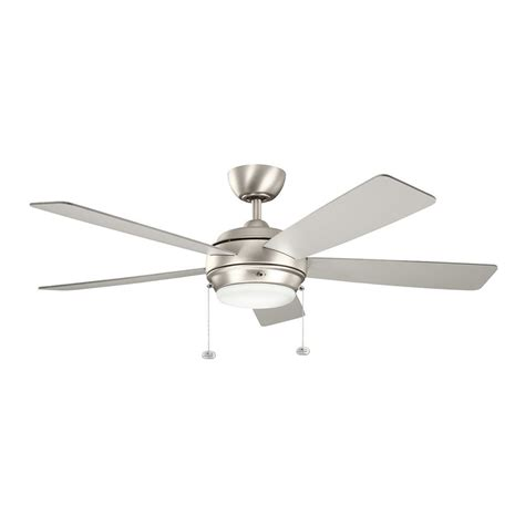 nickel ceiling fan with white blades shop kichler starkk 52 in brushed nickel indoor downrod