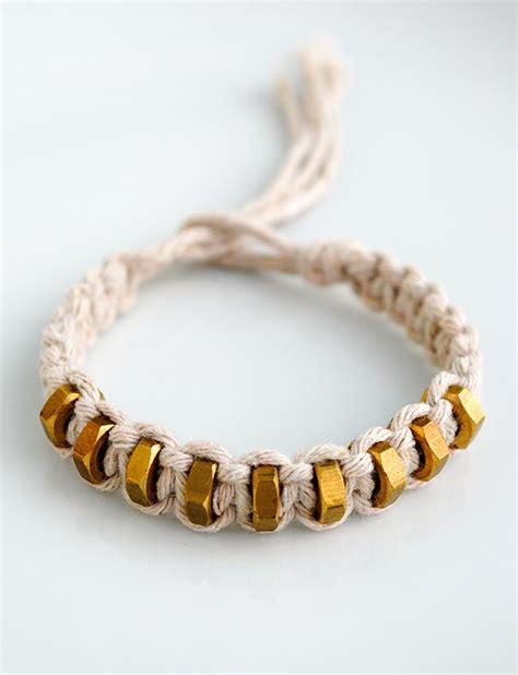 Square String - macram 233 square knot string hexnut bracelet minieco
