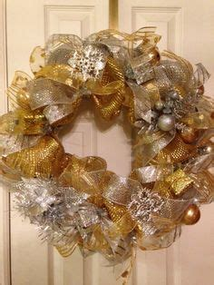 "for sale: ""silver and gold"" mesh wreath on etsy"