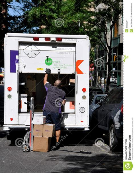 does fed ex deliver on nyc fedex delivery and truck editorial stock image