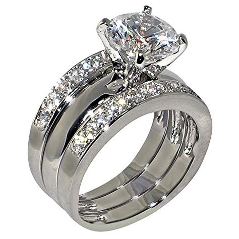 3piece Ring by 3 47 Ct Cubic Zirconia Cz Solitaire Bridal
