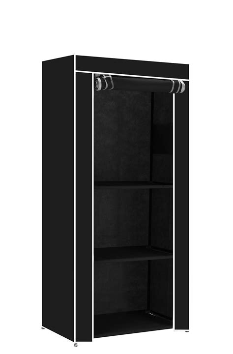 Single Wardrobes With Shelves by Single Canvas Clothes Storage Organiser Wardrobe Cupboard