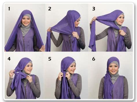 tutorial hijab pashmina satin polos cara memakai pashmina kaos polos simple tutorial memakai