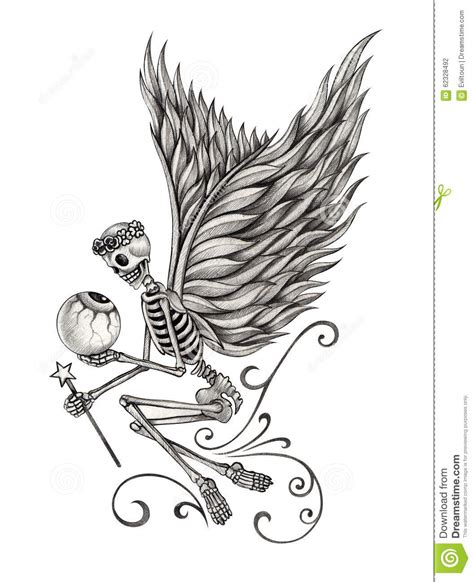 art skull fairy angel tattoo stock illustration image