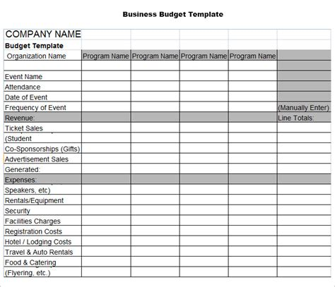 Free Business Budget Template Downloads
