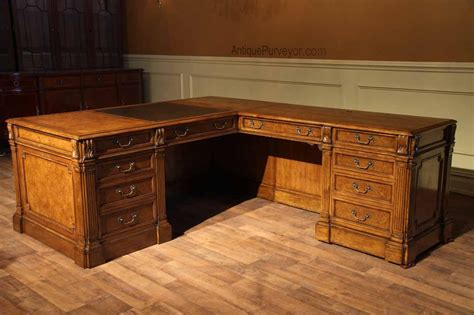 Return Desk by Traditional Walnut Return Desk With Leather Top