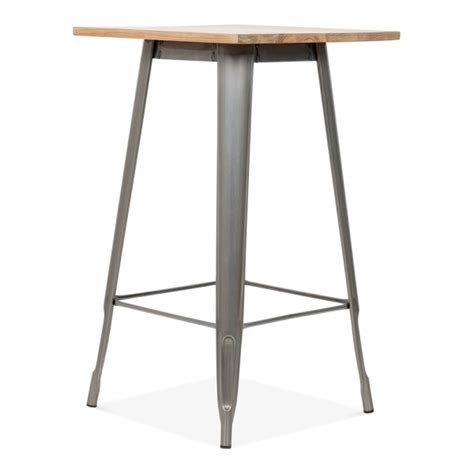Xavier Pauchard Bar Table Tolix Style Metal Bar Table With Wood Top Gunmetal 103cm Cult Uk