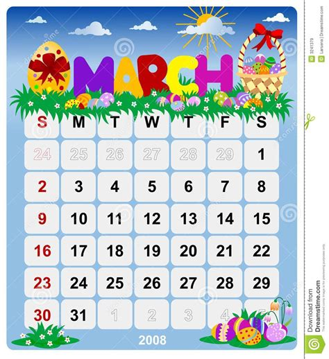 monthly calendar march  stock vector illustration  working