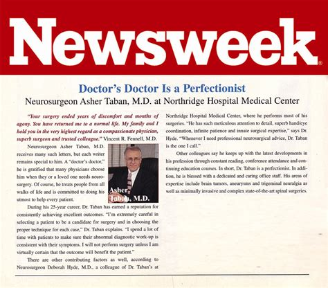 newsweek articl on dr diep news and media dr asher taban md neurosurgery spine