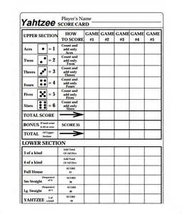 8 yahtzee score sheet templates free sample example