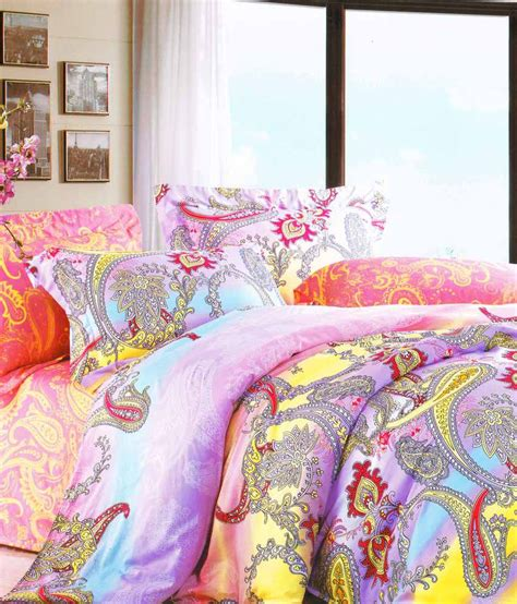 just comforters just linen printed purple multi floral quilted comforter