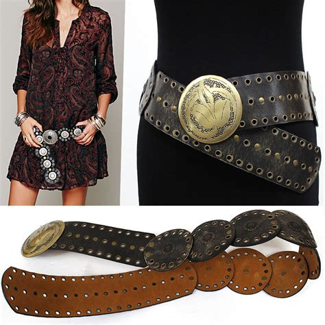 western fashion belt wide hip metal conch buckles