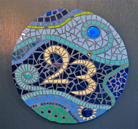 mosaic decorations for the home furniture great round blue tone mosaic glass house number
