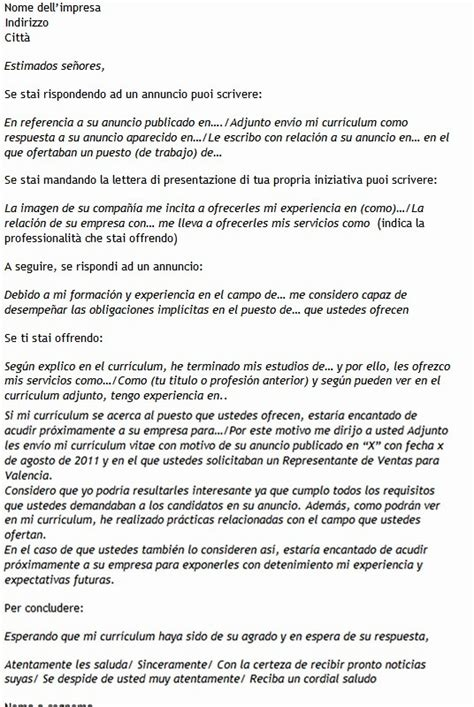 lettere motivazionali esempi modello di lettera di presentazione in spagnolo modello