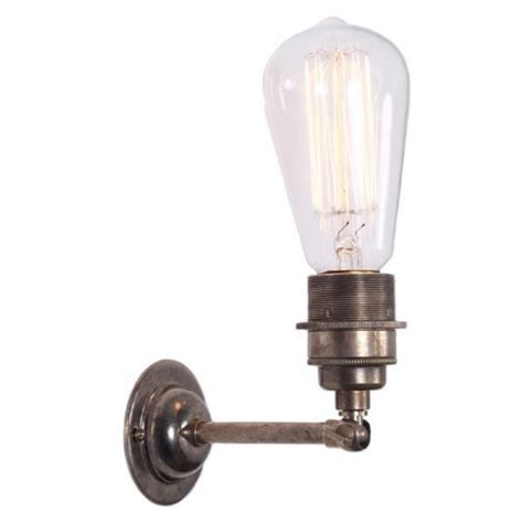 antique silver industrial style wall light with well glass shade vintage bare bulb wall light in traditional antique silver