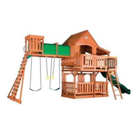 home depot outdoor swing sets backyard discovery woodridge ii all cedar swing set