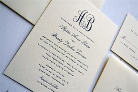 Simple Wedding Stationery by Classic Monogram Wedding Invitations Jpress Designs