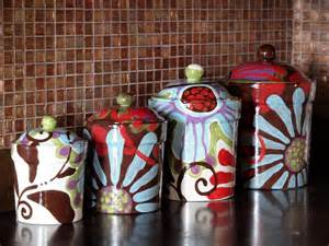 Unique Canister Sets Kitchen Canister Set Of Four Fusion Colorful Pottery By Romyandclare