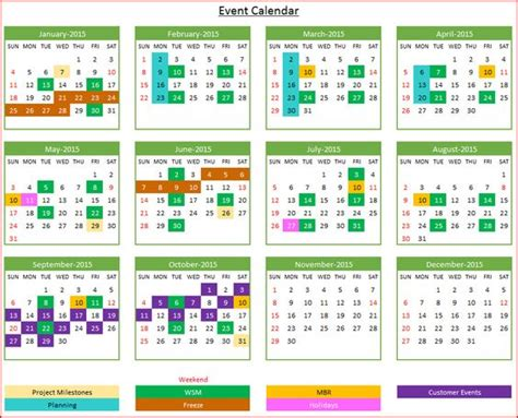2016 daily calendar planner event calendar maker excel template