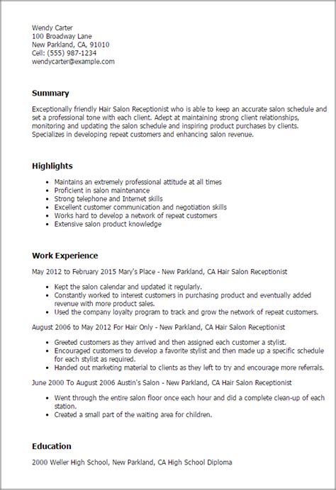 Sle Resume For Salon Receptionist Professional Hair Salon Receptionist Templates To Showcase Your Talent Myperfectresume