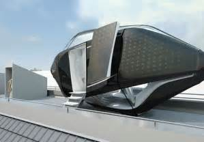 Futuristic Design Futuristic Rooftop Living Room In A Compact Prefab Capsule
