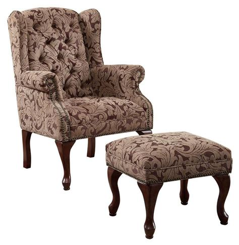button tufted wing chair  ottoman   coaster  coleman furniture