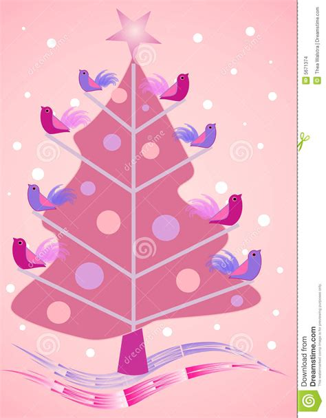 pink christmas tree  birdies stock images image