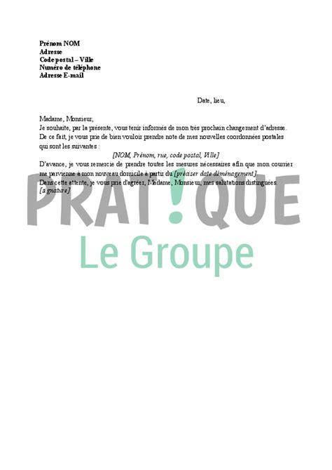 Exemple De Lettre Nouvelle ã E Lettre Administrative Changement D Adresse Pratique Fr