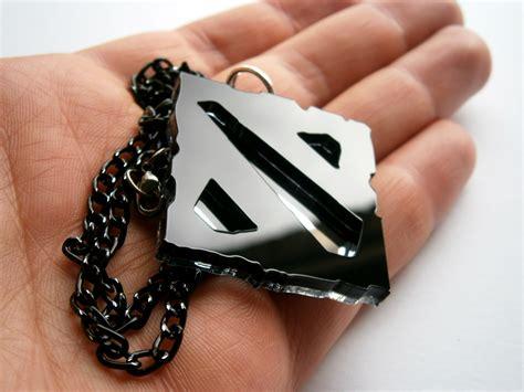 Gantungan Acrylic dota necklace laser cut black acrylic and mirror plastic dota pendant