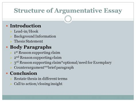 Argumentative Essay Introduction by Writing An Argumentative Essay Ppt