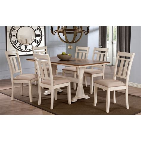 farmhouse 7 piece dining room set in antique walnut baxton studio roseberry shabby chic french country cottage