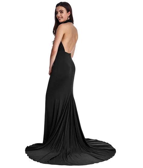 Backless Gown city goddess black high neck gown alila boutique