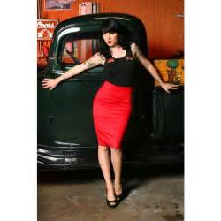 Rockabilly clothing retro pencil skirt in racy red also in plus