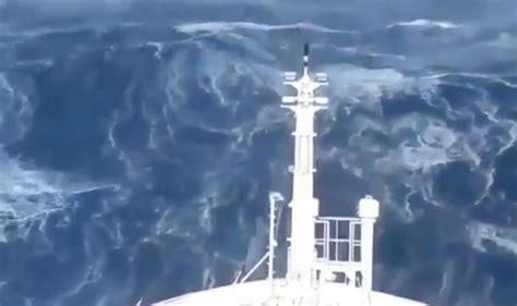 ship video ship slammed by monster waves in violent mega storm at sea