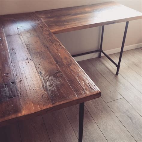reclaimed wood corner desk l desk corner desk reclaimed wood steel pipe base